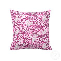 "Pink Wild hearts. Throw Pillow 20"" x 20""."