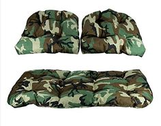 Outdoor Cushions 3 Piece Tufted Wicker Furniture Patio Cushion Set Woodland Terrace Camo Spring