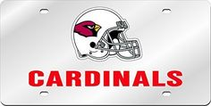 Arizona Cardinals Inlaid Acrylic License Plate with Domed Logo