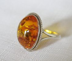 Vintage Sterling Silver 925 Large Baltic Amber Ring Size 11