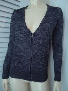 ANN TAYLOR LOFT Sz M Sweater Cardigan Cotton Rayon Knit Zip front Ribbing CHIC!