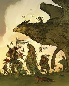 The Gryphon March illustration by Cory Godbey Fantasy Magic, Fantasy World, Fantasy Art, Magical Creatures, Fantasy Creatures, Illustrations, Illustration Art, Fairytale Art, Fairy Art