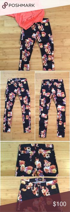 """Hudson Nico Super Skinny MidRise Floral Jeans Very dark midnight blue with purple, pink, yellow and orange flowers. Color is:  Midnight Floral. Run slightly small. Worn a few times and in great condition. Some wear and pilling. Approximately 14"""" across the waist when laid flat. Approximately 37"""" long with a 28"""" inseam. 91.5% cotton, 6% polyester, 2.5% Lycra Hudson Jeans Jeans Skinny"""