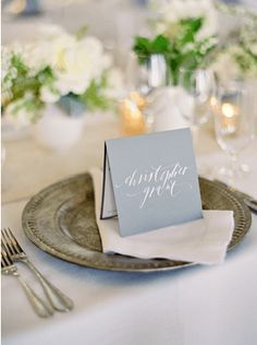 Love the tented place card that doubles as a menu :: PS Paper, Neither Snow and Laurie Arons Special Events. #wedding #menu #printedpieces #placecard #dinner #tabletop