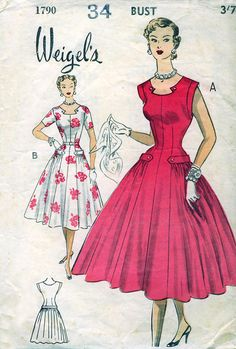 1790 Lovely tab corner trim at the neckline and wide hip pleats make this Weigel's pattern a really striking creation!Lovely tab corner trim at the neckline and wide hip pleats make this Weigel's pattern a really striking creation! Moda Vintage, Vogue Vintage, Moda Retro, Vintage Art, Vintage Dress Patterns, Clothing Patterns, Vintage Dresses, Vintage Outfits, 1950s Dresses