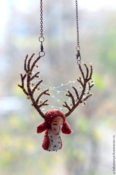 Бусы - Лесной дух: олень. Handmade. Коричневый, загадочный
