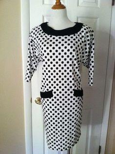 Vintage Black and White Polka Dot Jersey Shift Dress