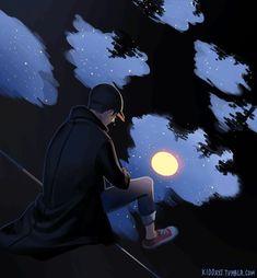 Kid Curious☆彡 — Moonchild - we were born to be sad. Art Anime Fille, Anime Art Girl, Anime Wallpaper Live, Anime Scenery Wallpaper, Aesthetic Art, Aesthetic Anime, Art Triste, Beau Gif, Alone Art