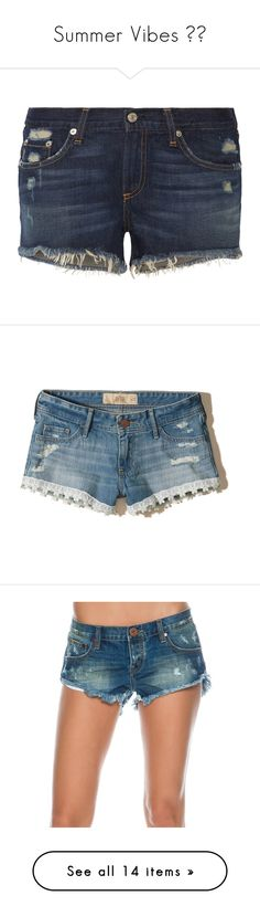 """""""Summer Vibes ✌🏼"""" by cassidymiller-1 ❤ liked on Polyvore featuring shorts, bottoms, denim shorts, denim cutoff shorts, ripped shorts, frayed jean shorts, cut-off jean shorts, ripped medium wash, hot shorts and low rise jean shorts"""