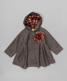 Look what I found on #zulily! Gray Rosette Hooded Swing Coat - Toddler & Girls #zulilyfinds