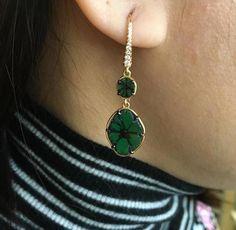 #Jewelry Trapiche Emerald Earrings