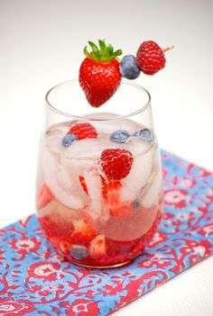 White Wine-Berry Sangria    1 bottle dry white wine (I used Sauvignon Blanc)  1 cup lemon-lime soda  1/2 cup raspberry vodka  1/4 cup brandy  chopped strawberries  raspberries  blueberries