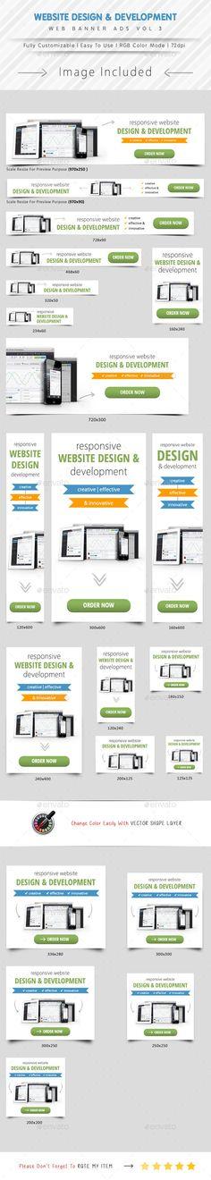 Website Design & Development Banner Ads Template #design #ads Download: http://graphicriver.net/item/website-design-development-banner-ads-vol3/12340381?ref=ksioks