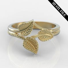 3D STL Leaf Sculpt ring with out stone in 4 ring sizes ready for 3D printing