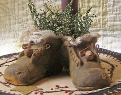 Primitive Beeswax Shoe by WillowBPrimitives on Etsy, $9.00