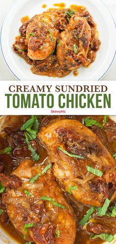 This Tuscan-inspired Creamy Sun-dried Tomato Chicken boasts the incredible flavors of fragrant basil crispy chicken and sweet tangy sun-dried tomatoes. How can I drop 20 pounds fast? Clean Dinner Recipes, Clean Eating Dinner, Clean Eating Recipes, Clean Meals, Slow Cooker Recipes, Cooking Recipes, Healthy Recipes, Healthy Food, Skinny Recipes