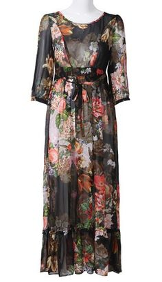 Black Long Sleeve Floral Ribbon Silk Dress. Love this great retro style dress with the large floral print