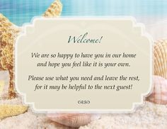 Custom Guest Bath Welcome Cards