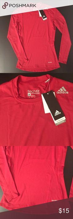 Adidas Men's Red Techfit Base Compression Medium Adidas Men's Techfit bas compression long sleeve t-shirt; red; medium adidas Shirts Tees - Long Sleeve