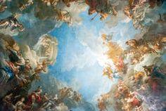 VERSALHES PARIS, FRANÇA - 18 de abril: Pintura do teto Foto de Stock Royalty…