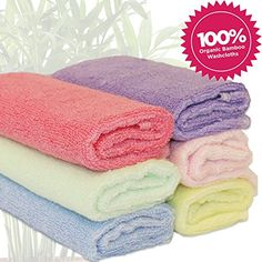 nice Luv Your Baby 6 Pack of 100% Bamboo Washcloths, Perfect 25cm X 25cm Size, Hypo-allergenic, Anti-Bacterial, Eco-friendly, Use With Your Favourite Baby Bathing Skin Care Products and Children's Bath Towels. Softer Than Cotton, Extremely Absorbent.