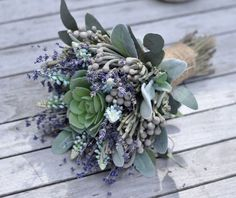 How gorgeous is this bouquet of dried lavender, Sage green  and Succulents