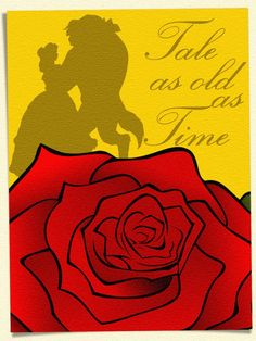 """Tale as old as Time - Project Life Filler Card - Scrapbooking. ~~~~~~~~~ Size: 3x4"""" @ 300 dpi. This card is **Personal use only - NOT for sale/resale** Logos/clipart/photo belong to Disney. Rose from www.openclipart.org . Font is Exmouth  http://www.dafont.com/exmouth.font ***"""
