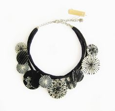 Black White Fabric Necklace Statement Jewelry Fabric by LENNYshop