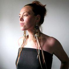 Extra Long Feather Earrings Bohemian Tribal By Larkinandlarkin On Etsy
