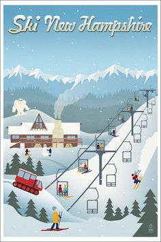New Hampshire - Retro Ski Resort (12x18 Art Print Wall Decor)