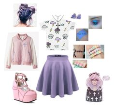 """""""Pastel goth"""" by messed-up-soul ❤ liked on Polyvore featuring Demonia"""