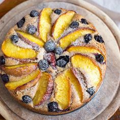 Blueberry Peach Yogurt Cake (vegan & gluten free) // Beauty Food Geek. Get this recipe and 30+ more of our favorite vegan dessert recipes at feedfeed.info/vegan-desserts