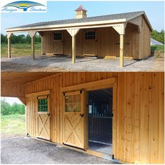 "Upgrade Dutch stall doors to sliding doors.  Makes opening doors easier in deep or drifting snow.  Inside hinged mesh door with ""V"" yoke allows for increased ventilation and views in fair weather."