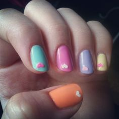 essie mint candy apple , sally hansen extreme weae bublegum pink and lacey lilac, rimmel tangy tangerine amd lemon drop+ nail sticker Spring Nail Trends, Spring Nails, Summer Trends, Cute Nails, Pretty Nails, Hair And Nails, My Nails, Violet Pastel, Nail Manicure