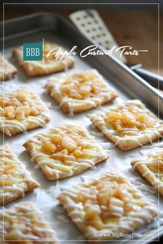 Apple Custard Tarts | Big Bang Bites | bigbangbites.com | Flaky puff pastry squares covered with a creamy custard, topped with cinnamon apples, and drizzled with a sweet glaze.