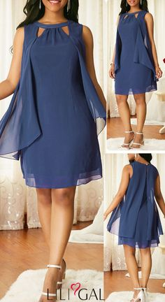 Sleeveless Blue Keyhole Neckline Chiffon Dress - Evening Dresses and Fashion Stylish Dresses, Elegant Dresses, Beautiful Dresses, Casual Dresses, Short Dresses, Formal Dresses, Fall Dresses, Dress Outfits, Fashion Outfits