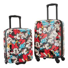 American Tourister Disney Hardside Carry-On Luggage Set, Minnie Mouse Hardside Luggage Set In-Line Skate Wheels (Underseat Bag), Spinner Wheels (Carry On Bag) Minnie Mouse Print Disney Luggage, Kids Luggage, Carry On Luggage, Mickey Minnie Mouse, Disney Mickey, Minnie Mouse Luggage, Disney Mouse, Hardside Luggage Sets, Skate Wheels