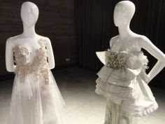 Vestido de Rodrigo Rosner em exposição no Senac Lapa, SP.