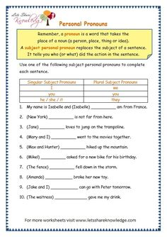 2 Pronoun Worksheets for Grade to Print Grade 3 Grammar Topic 10 Personal Pronouns Worksheets Worksheets 8th Grade Math Worksheets, Pronoun Activities, Suffixes Worksheets, Nouns Worksheet, Vocabulary Worksheets, Printable Worksheets, English Prepositions, English Grammar Worksheets, Word Families