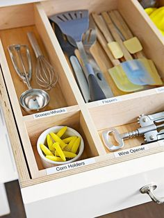 •Order in the Drawer   Save time looking for cooking utensils with a well-organized drawer. Find a storage insert that fits the space, and label each compartment to make it easy to put things where they belong.
