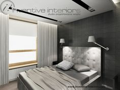 Projekt mieszkania Inventive Interiors - męska sypialnia - szarość czerń, jasne drewno