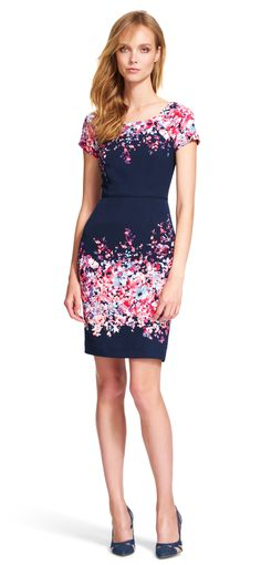Adrianna Papell floral short sleeve sheath dress | Gradiated florals burst forth from the neckline and pencil skirt of this dreamy sheath dress. Featuring short sleeves, a fitted design, and a contrasting exposed back zipper, this short dress combines classic style artfully with bold color. Darted details at the waist give this floral dress a structured look. Pair this day dress with the neutral pumps of your choosing and watch it bloom.