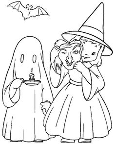Halloween Coloring Book Pages - Halloween girl coloring pages provide hours of fun for kids. Halloween Quilts, Halloween Costume Ghost, Image Halloween, Halloween Doodle, Halloween Embroidery, Halloween Drawings, Halloween Halloween, Cute Halloween Coloring Pages, Witch Coloring Pages