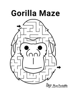 Mazes For Kids Printable, Worksheets For Kids, Free Printables, Printable Art, Gorilla Craft, One And Only Ivan, Activity Sheets For Kids, Music Lessons For Kids, Kids Education