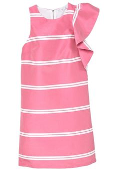 Sleeve with maxi frill detail Striped design Straight fit Rounded neck Wide straps Zip fastening on the back section Pink Ruffle Dress, Frilly Dresses, Striped Dress, Short Dresses, Ruffled Dresses, Looks Chic, Straight Dress, Cold Shoulder Dress, Fashion Looks
