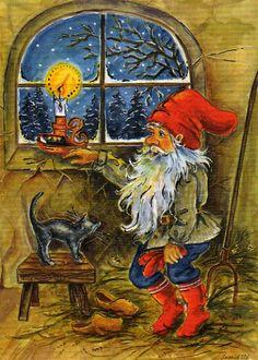' Norwegian Christmas, Scandinavian Christmas, Christmas Images, Christmas Elf, Christmas Knomes, Illustration Noel, Elves And Fairies, Fantasy Creatures, Vintage Postcards