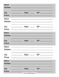 This printable address list has from for contact information (including phone numbers) for up to five friends or business contact. Free to download and print
