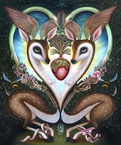 'Sanctum' by Jennybird Alcantara. Find out more about Jennybird and see more of her wonderful art in her interview at wowxwow.com. (animals, anthropomorphism, flora and fauna, metaphor, mystery, myth, mythology, narrative, nature, pop surrealism, surreal, surrealism, symbolism, transformation, wildlife, contemporary art, fine art, new contemporary art)
