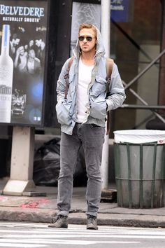 """""""Drive"""" actor and indie heartthrob Ryan Gosling keeps a low profile as he explores Soho in New York City all by himself."""
