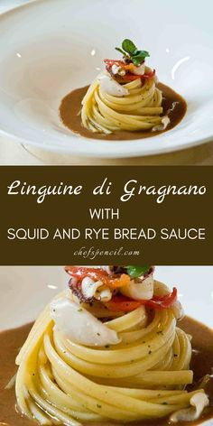 Linguine di Gragnano with Squid and Rye Bread Sauce Recipes by Chef Antonino Cannavacciuolo. #pastarecipes #linguinedigragnano #chefrecipes #saucerecipes #ryebread